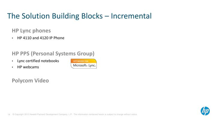The Solution Building Blocks – Incremental