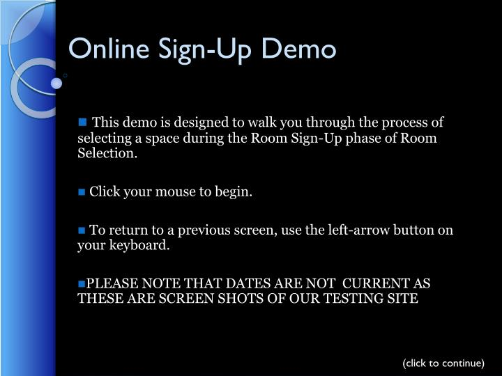 Online Sign-Up Demo