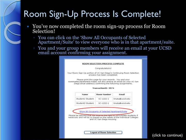 Room Sign-Up Process Is Complete!