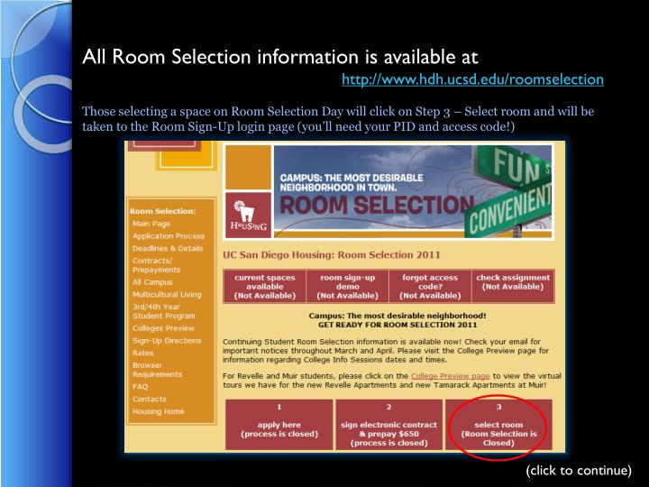 All Room Selection information is available at