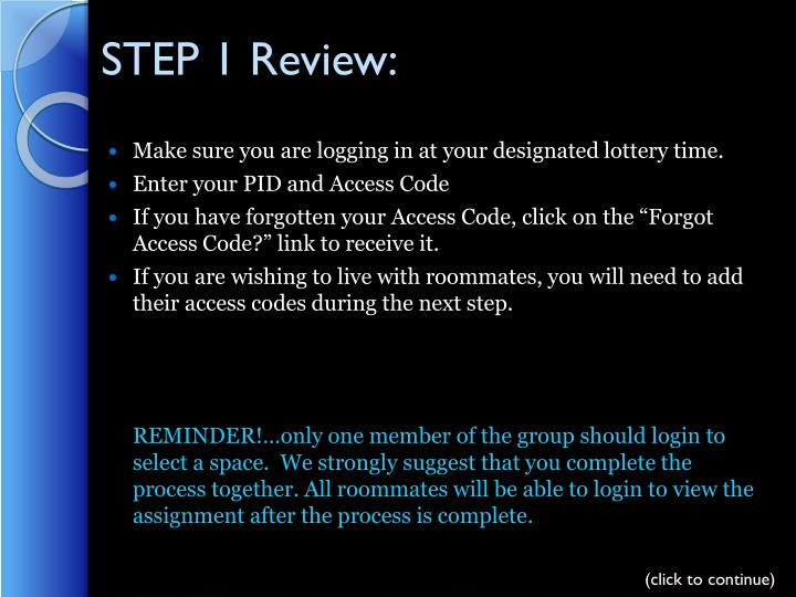 STEP 1 Review:
