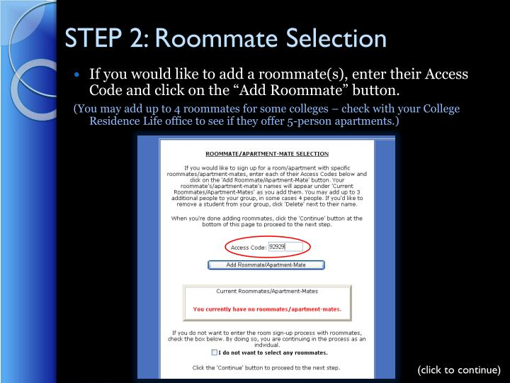 STEP 2: Roommate Selection
