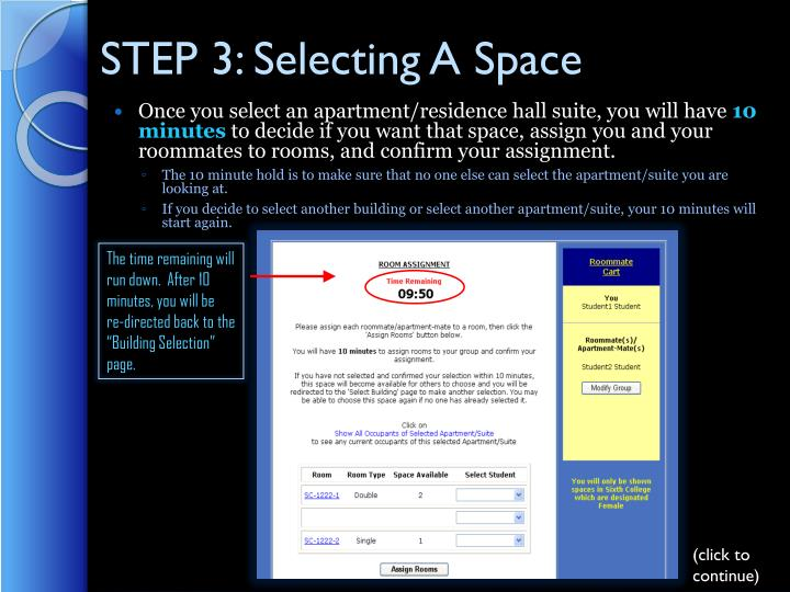 STEP 3: Selecting A Space