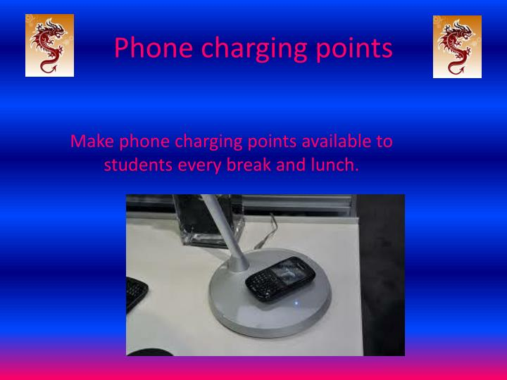 Phone charging points