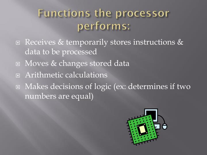 Functions the processor performs: