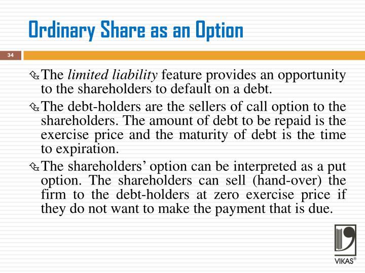 Ordinary Share as an Option