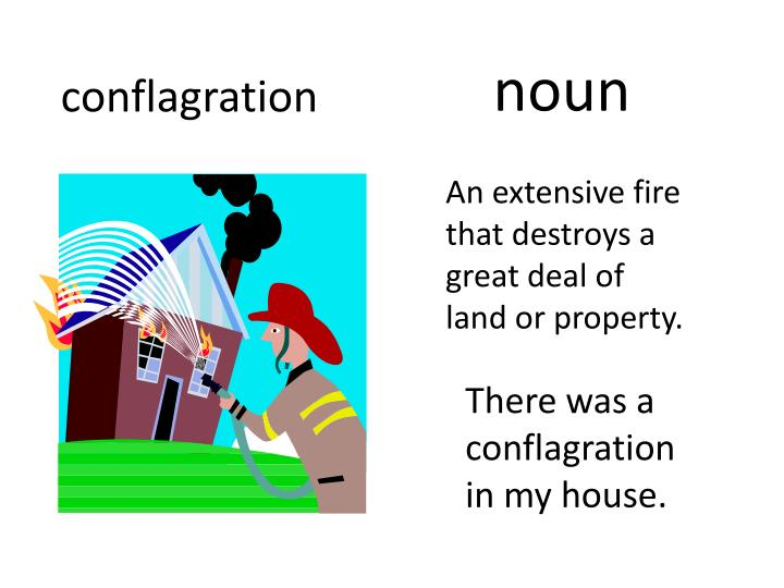 An extensive fire that destroys a great deal of land or property.
