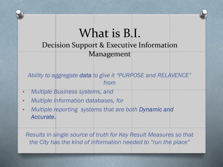 What is b i decision support executive information management
