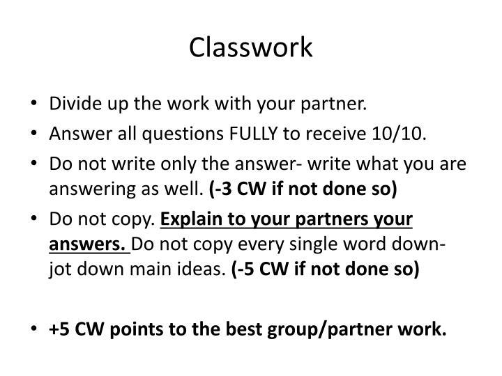 Classwork