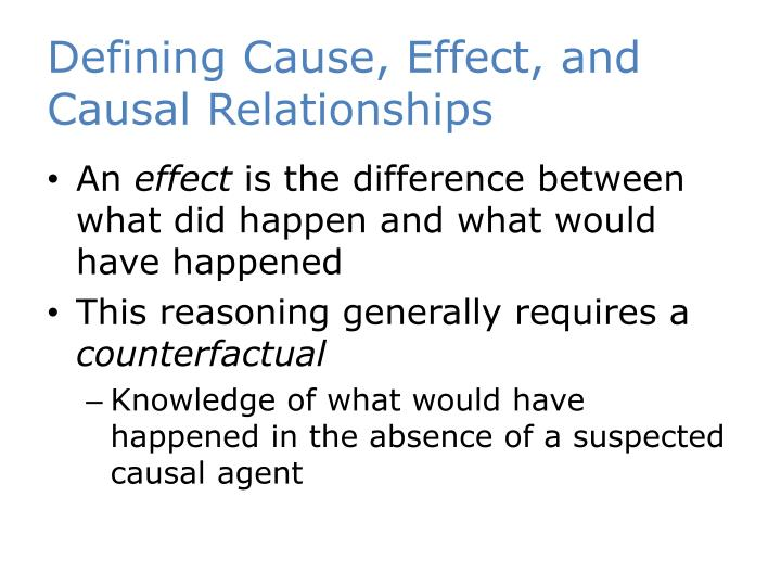 Defining Cause, Effect, and Causal Relationships