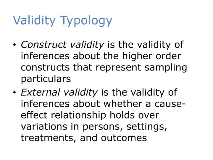 Validity Typology