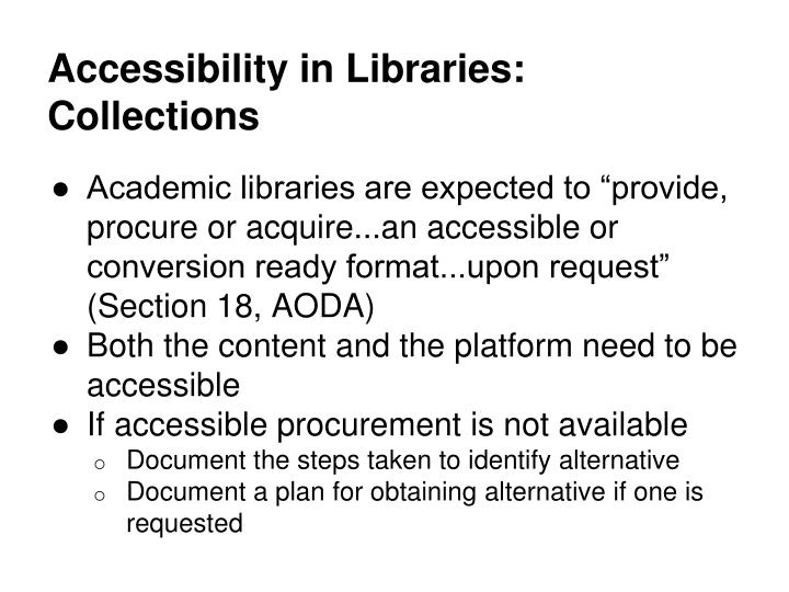 Accessibility in Libraries: Collections