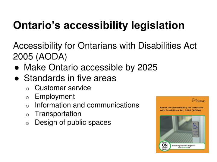 Ontario's accessibility legislation