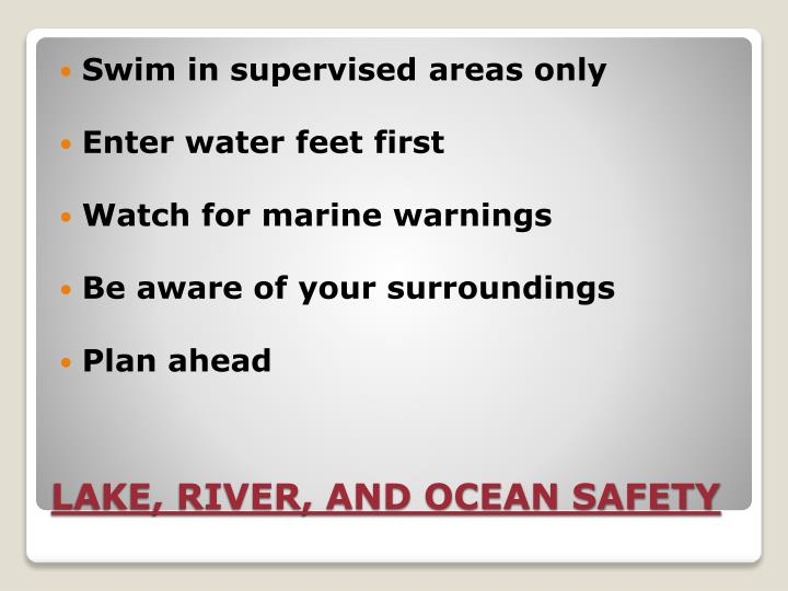 Swim in supervised areas only