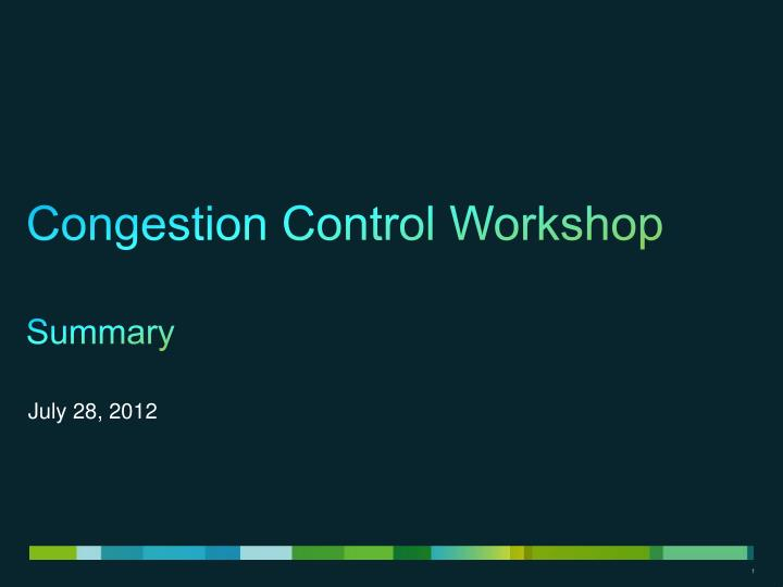 Congestion control workshop summary