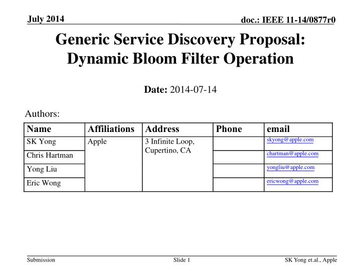 Generic service discovery proposal dynamic bloom filter operation