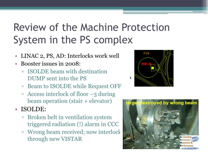 Review of the Machine Protection System in the PS complex