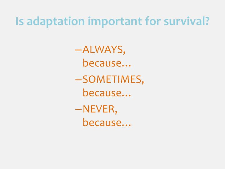 Is adaptation important for survival