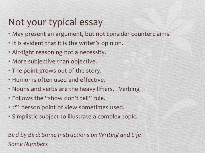 Subjective narrative essay