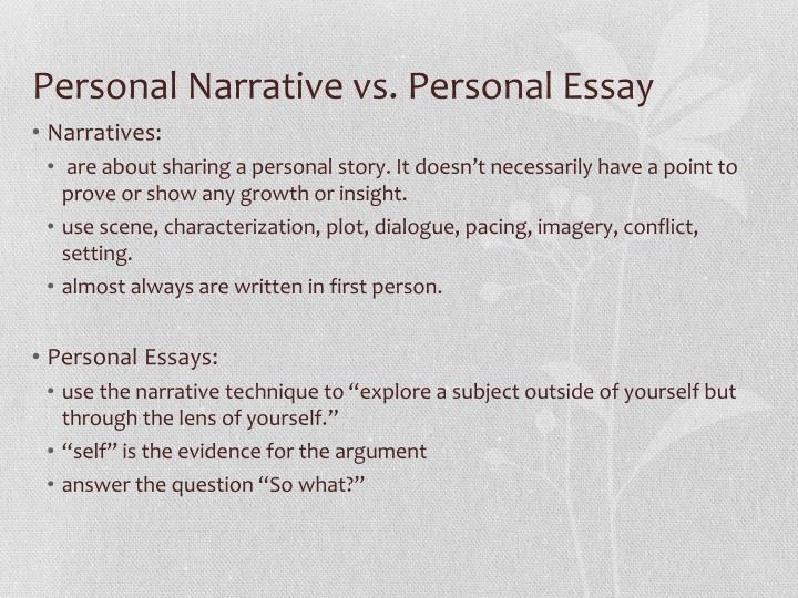 ppt from personal narrative to personal essay powerpoint