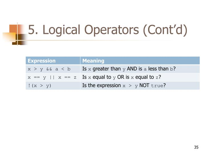 5. Logical Operators (Cont'd)
