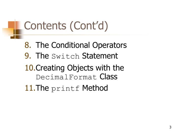 Contents (Cont'd)