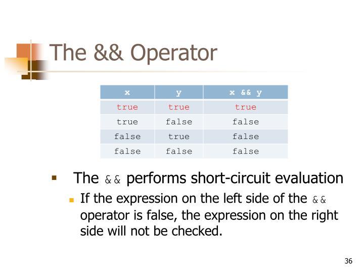 The && Operator