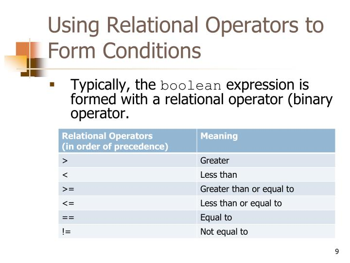 Using Relational Operators to Form Conditions