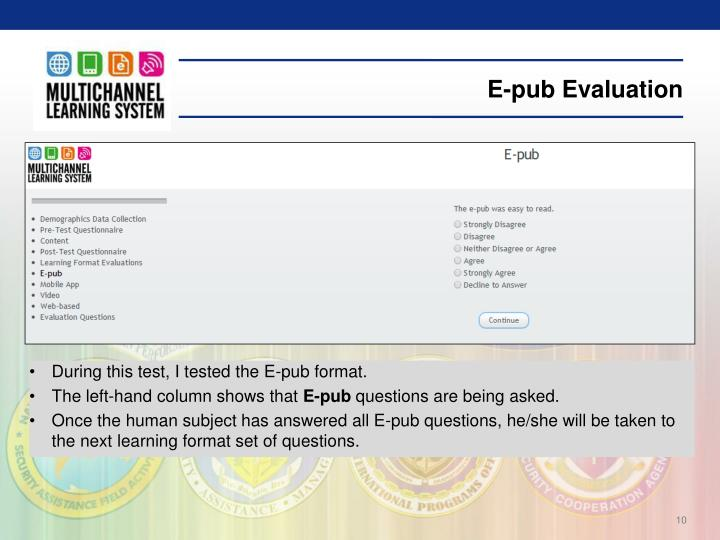 E-pub Evaluation