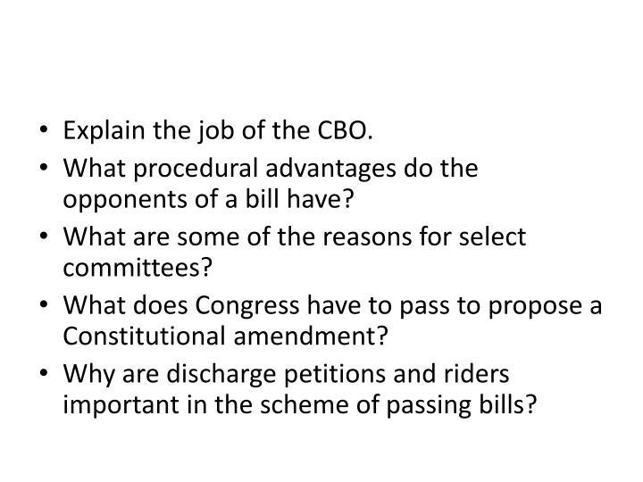 Explain the job of the CBO.