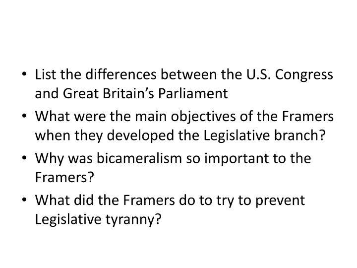 List the differences between the U.S. Congress and Great Britain's Parliament