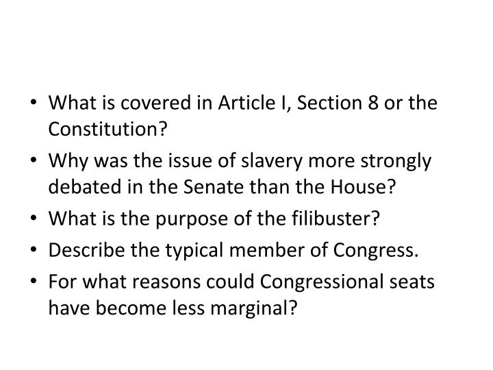 What is covered in Article I, Section 8 or the Constitution?