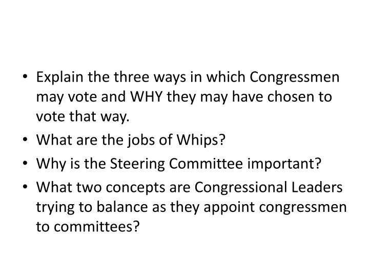 Explain the three ways in which Congressmen may vote and WHY they may have chosen to vote that way.