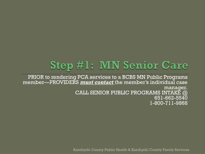 Step #1:  MN Senior Care