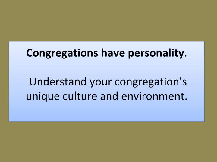 Congregations have