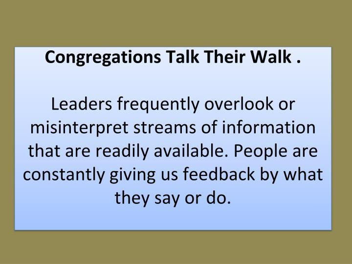 Congregations Talk Their Walk