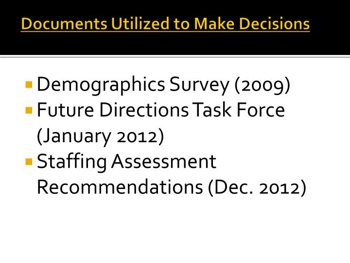Documents Utilized to Make Decisions
