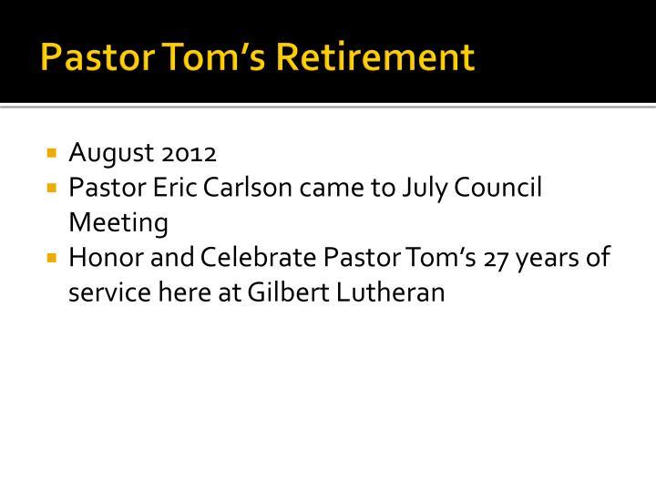 Pastor Tom's Retirement