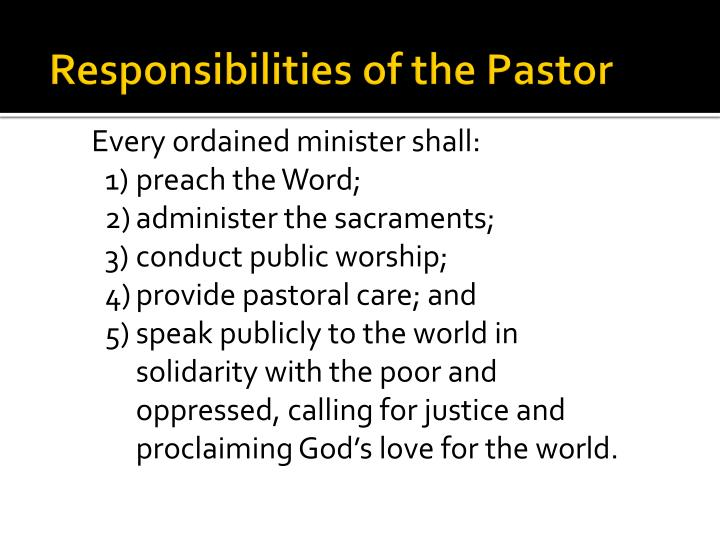 Responsibilities of the Pastor
