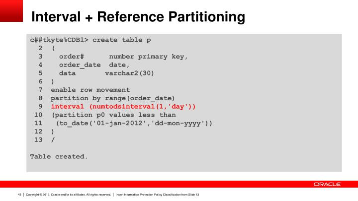 Interval + Reference Partitioning
