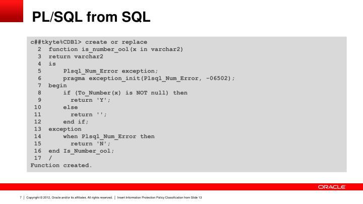 PL/SQL from SQL