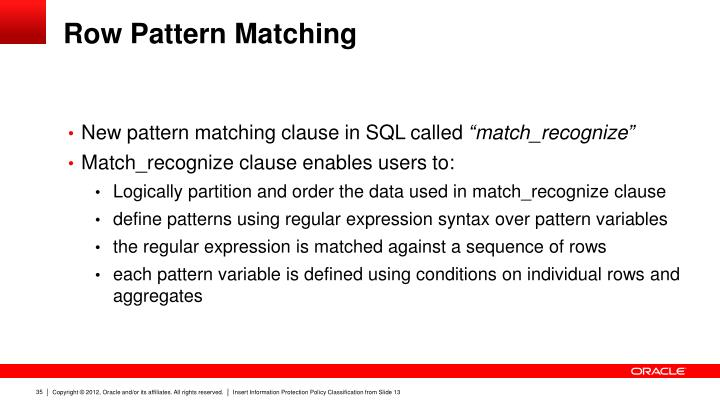 Row Pattern Matching