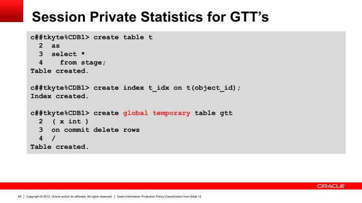 Session Private Statistics for GTT's