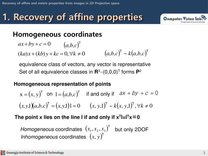 1 recovery of affine properties