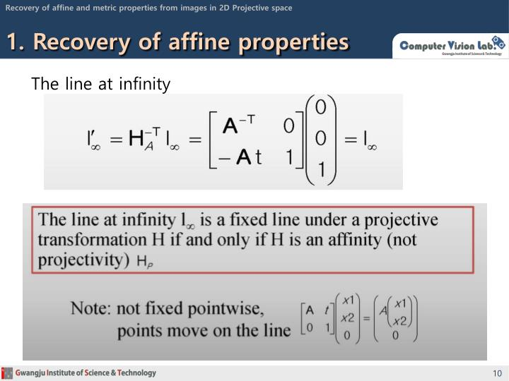 Recovery of affine and metric properties from images in 2D