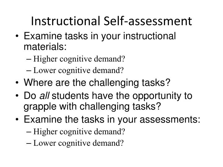 Instructional Self-assessment