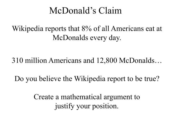 McDonald's Claim