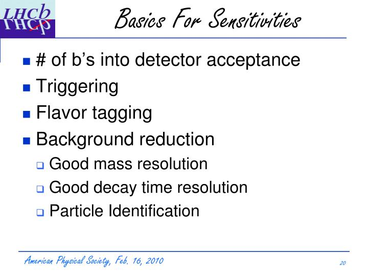 Basics For Sensitivities
