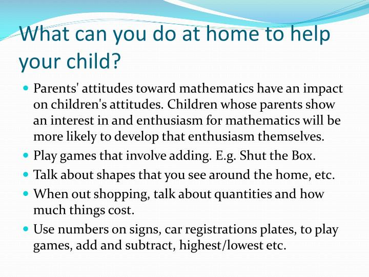 What can you do at home to help your child?