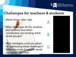 challenges for teachers students
